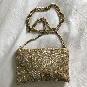 J. Crew crossbody gold sparkle clutch